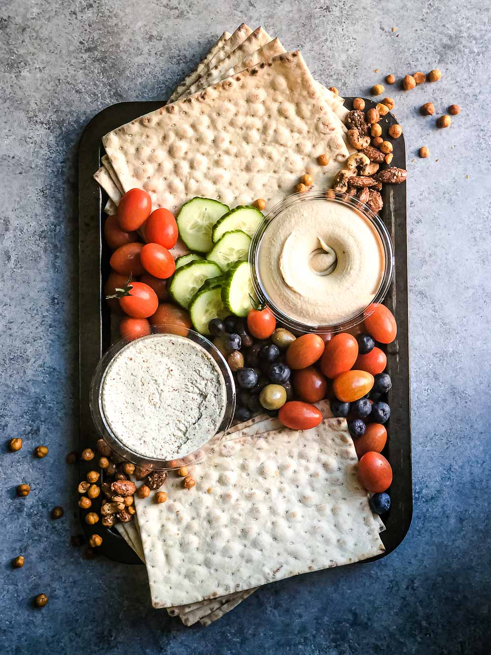 Mediterranean Mezza platter. This is the absolute healthy Mezza platter that comes with hummus, tabbouleh, roasted vegetables, lavash and so much more.