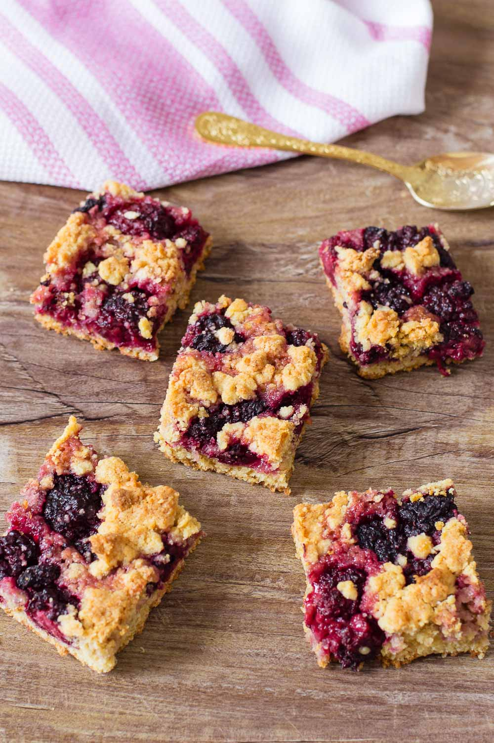 Easy Blackberry Crumb Bars. These blackberry crumb bars are a favorite for the summertime. They are filled with fresh blackberries and topped with crumbly crumbs. So easy to make and perfect for your next gathering or party.