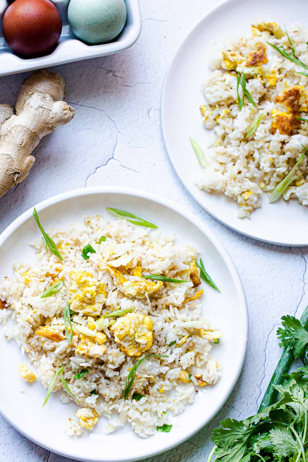 Ginger Fried Rice. A bowl of easy fried rice with the goodness of ginger and garlic and so delicious. A Satisfying weeknight meal that's better than takeout.
