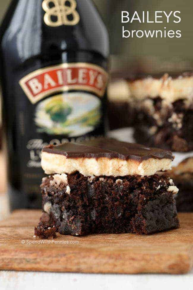 Rich fudgy brownies with a fluffy buttery Baileys Irish Cream frosting and topped with a rich boozy Baileys chocolate ganache.  These are definitely the best brownies we've ever had! Click here for the recipe.