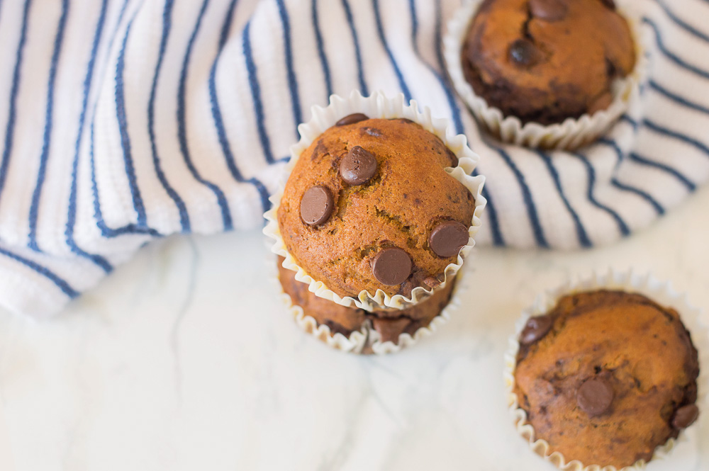 These Double Chocolate Pumpkin Muffins are a great way to enjoy pumpkin spice season. The muffins are super easy to make and are ready in 30 minutes. Deliciously moist, chocolatey, and downright decadent which make this recipe the best chocolate pumpkin muffins.