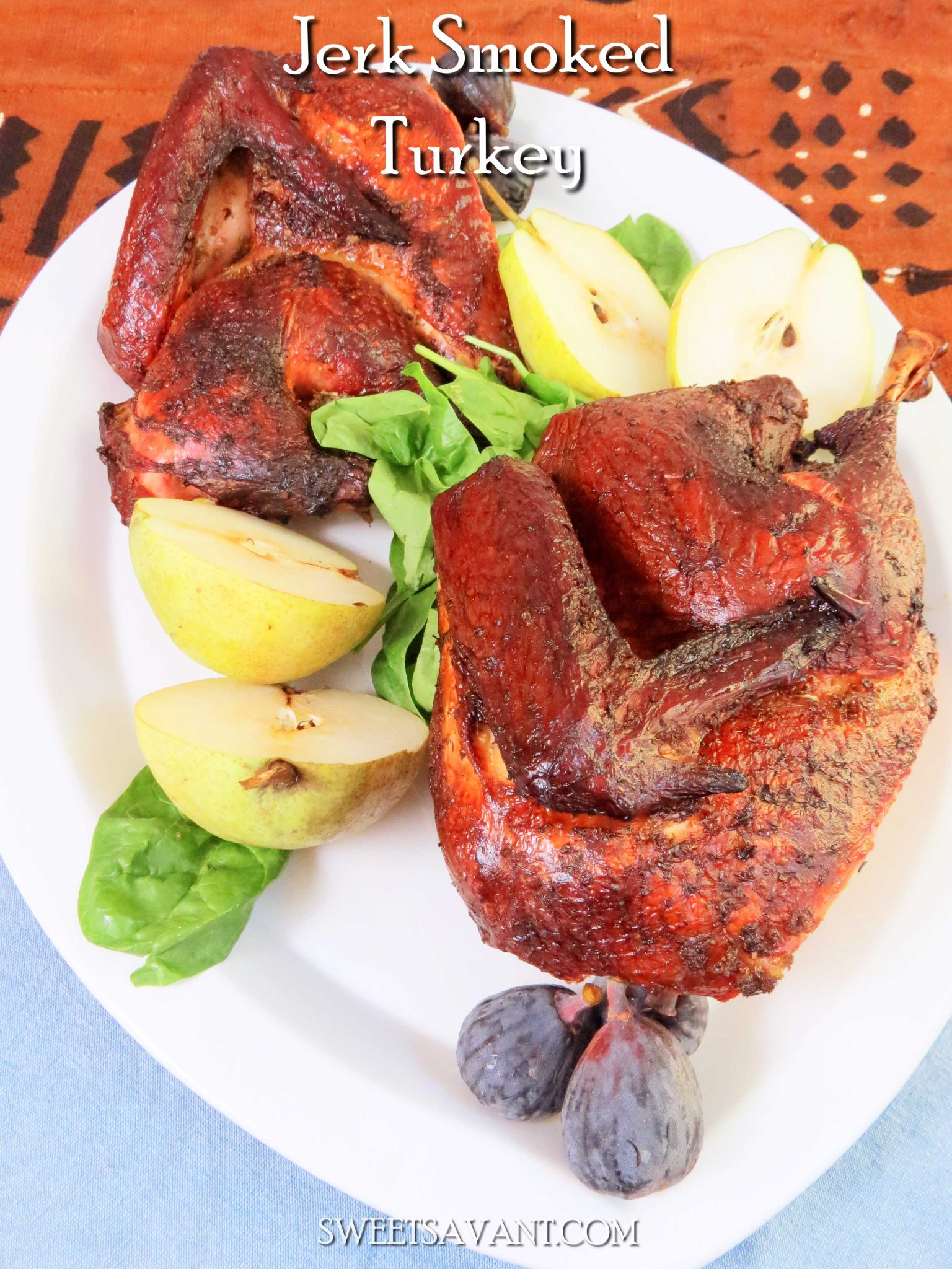 Rub your turkey with some homemade Jamaican style jerk marinade, fire up the grill and celebrate the holiday with a little Island style. Jerk smoked turkey gets some heat from Scotch bonnet peppers, a VERY hot pepper with fruity flavor. Scotch bonnet peppers are quite a bit hotter than jalapeños add them with care if you want to keep your taste buds intact.