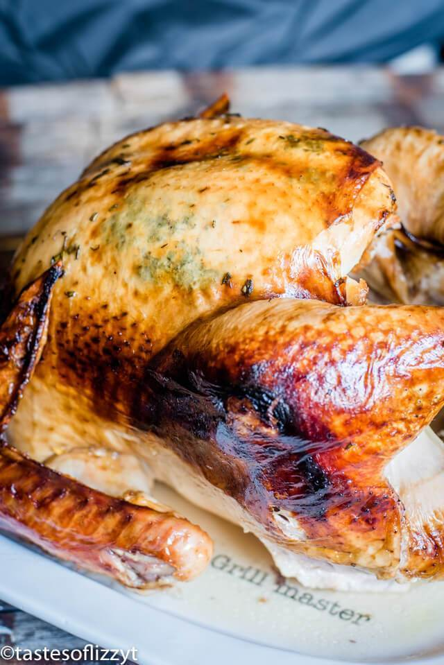 Free up the oven for side dishes and make your roast turkey in a roaster oven! We give tips for the juiciest turkey recipe with fresh herb butter…and how to get that golden brown skin on your turkey.